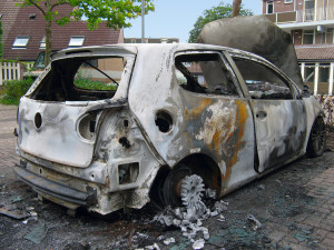 Burned car white