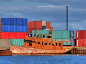 Containers and ship